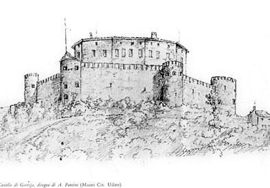 Il castello da un disegno di A. Pontini, Civici Musei, Udine.