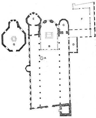 Pianta della Basilica di Sant'Eufemia, consacrata nel 579 a.C.
