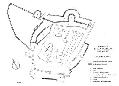 Pianta storica del castello da A. Cattalini.