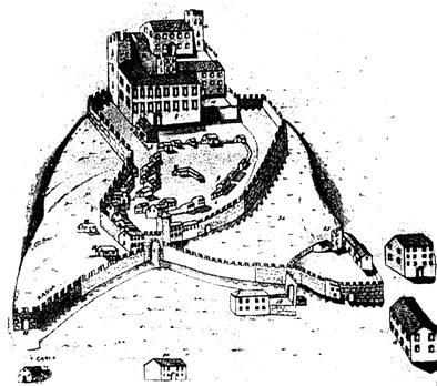 Il castello di Maniago in una ricostruzione del secolo XIV.