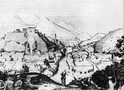 Acquaforte di P. Quaglia, metà Ottocento.