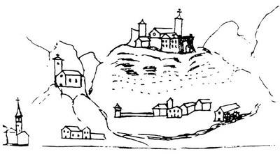 Il castello in un disegno del XVII secolo.