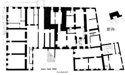 Pianta del piano terra del castello, disegno di L. Zille.