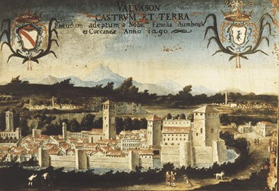 Il castello in una sovraporta del secolo XVII.
