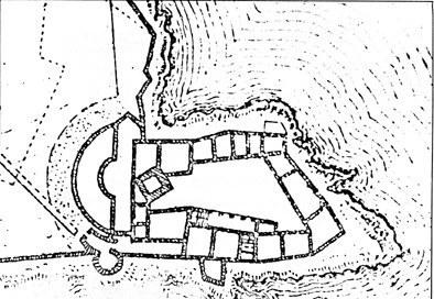 Pianta del castello di Duino nuovo, da G. Peroniu, 1639.