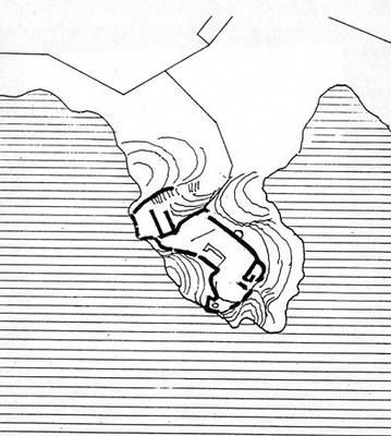 """Pianta del castello vecchio di Duino, la cosiddetta """"Dama bianca""""."""