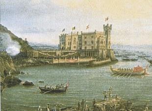 """Particolare del dipinto """"Massimiliano e Carlotta in partenza per il Messico""""."""