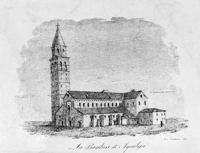 La Basilica di Aquileia, disegno di A. Pontini.