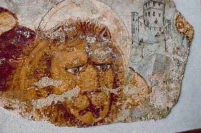 Particolare dell'affresco (XV sec.) con leone marciano rinvenuto sotto le volte della Domus