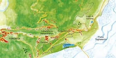 """Piantina della Riserva naturale regionale """"Lago di Cornino""""."""