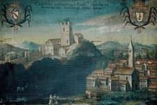 Pittura raffigurante i castelli di Cucagna e Zucco (archivio Valvasone).