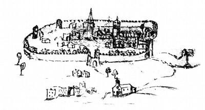 Disegno seicentesco del castello e del borgo