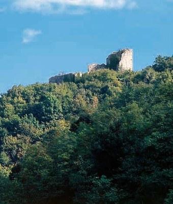 Panoramica del castello di Gronumbergo in cima al colle.