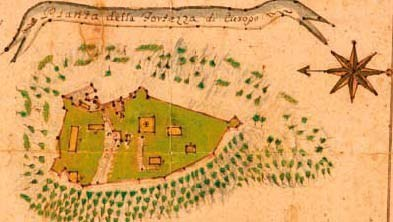 Piazza della fortezza disegnata dal capitano P. Carrara nel secolo XVIII.