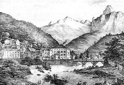 """Disegno di O. Codecasa, da """"Album pittorici del Friuli"""", Trieste, 1841-1842."""