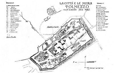 Pianta della cittadella, di G. Gortani e G. Marchi.
